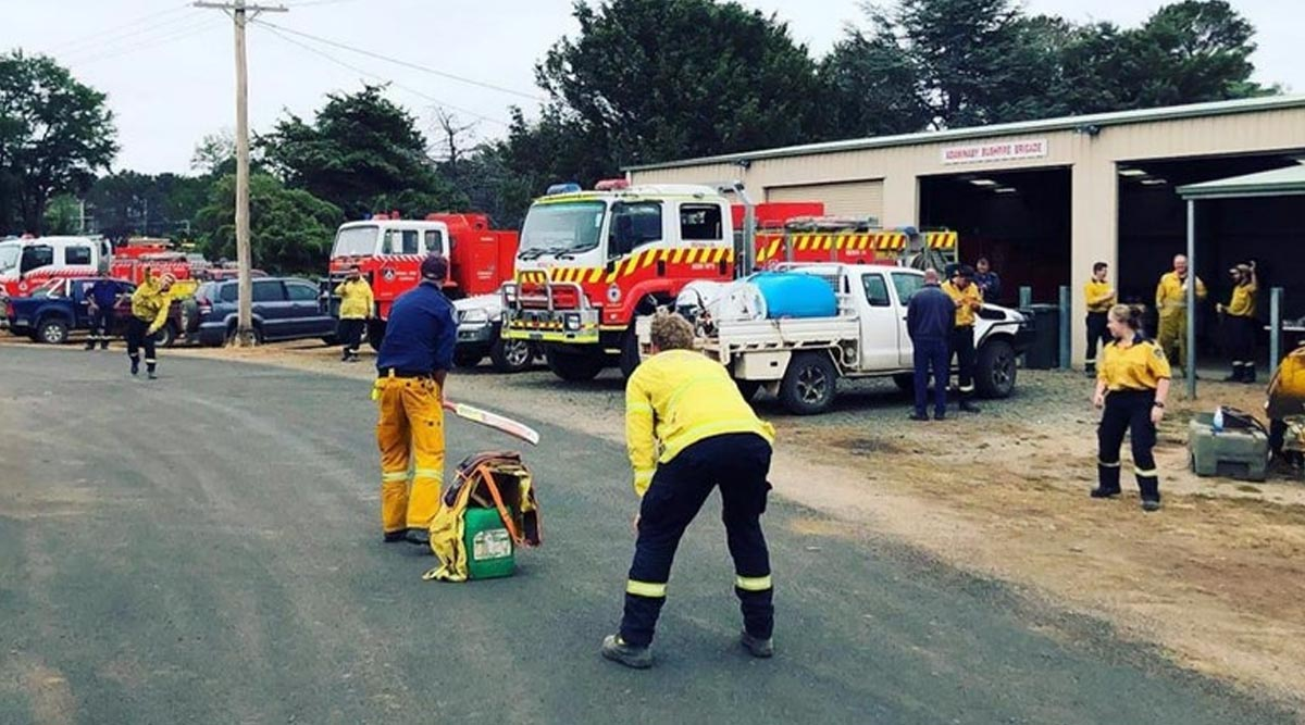 Cricket Unites All! ICC Tweets Picture of  Australian Firefighters Playing the Game in Their Spare time From Rescue Operations