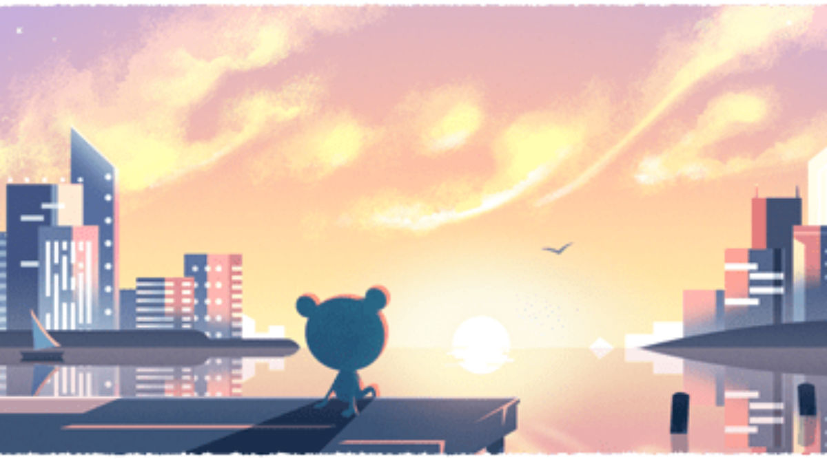 New Year's Day 2020 Google Doodle Shows 'Froggy- The Weather Frog' Looking at Rising Sun as World Enters a New Year & Decade