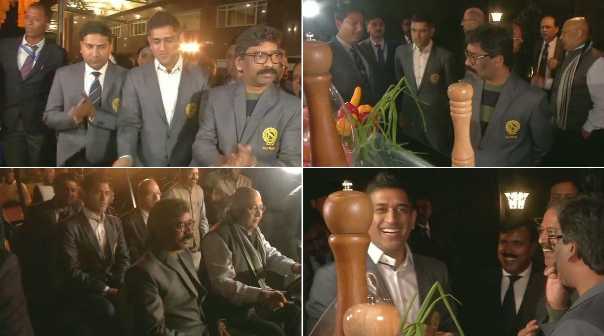 Jharkhand CM Hemant Soren Meets Cricket Icon MS Dhoni at the JSCA International Cricket Stadium Complex, See Pics