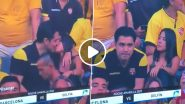 Barcelona vs Delfin Kiss Cam Video: Man's Awkward Kiss to Woman Goes Viral, Netizens Suspect Him of Cheating on Wife