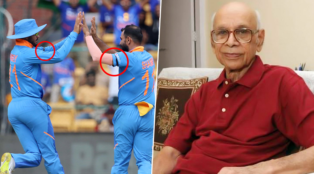 Indian Players Wear Black Arm-Bands to Pay Respect to Late Bapu Nadkarni During India vs Australia 3rd ODI Match in Bengaluru