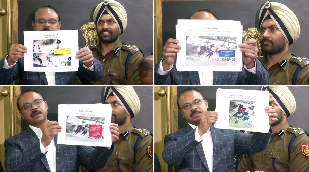 JNU Violence: Delhi Police Blames Left Student Groups, JNUSU President Aishe Ghosh, ABVP's Vikas Patel Among Those Named by Cops; Check List And Pictures of Other Suspects