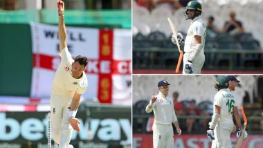 James Anderson Rips Keshav Maharaj's Bat Apart, Breaks It Into Two During Day 5 of South Africa vs England 2nd Test Match (View Pics)