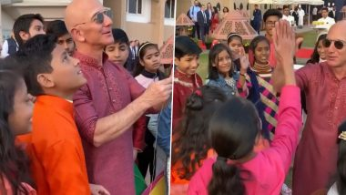 Jeff Bezos Celebrates Makar Sankranti by Flying Kite With Children in India (Watch Video)