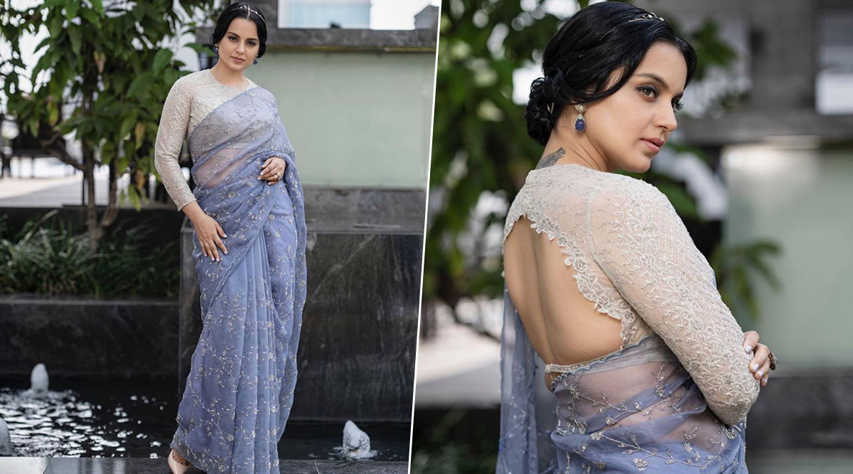 Panga Promotions: Kangana Ranaut Looks Like an Angel Descending From Heaven in a Pastel Purple Saree (View Pics)