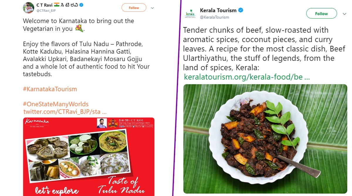 Beef Row: Kerala Tourism's Tweet on Beef Ularthiyathu Recipe, CT Ravi's 'Welcome to Karnataka' Response Trigger Twitter War Over Eating Habits