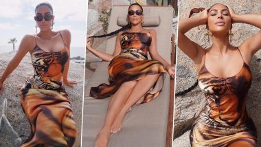 Kim Kardashian Stuns in a Tiger-Print Dress, Sets the Saturday Mood for Fans With Sultry Pictures