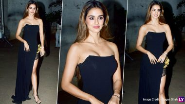 Indian Idol 11: Disha Patani Steals All The Attention From the Malang Cast In Her Sexy Black Thigh-High Slit Gown! (View Pics)