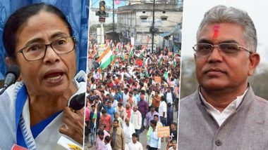 CAA Protests Row: Mamata Banerjee Hits Out at Dilip Ghosh's 'Shoot Them Like Dog' Remark, Says 'West Bengal Isn't Uttar Pradesh'