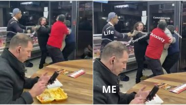 Man Casually Eating Chips During Mass Brawl Around Him Goes Viral, Netizens Make Funny Memes and Jokes on His 'Priorities'