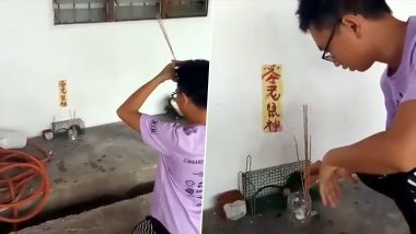 As Chinese New Year 2020 is 'Year of The Rat', Malaysian Man Cages a Mouse and Prays to It (Watch Funny Video)
