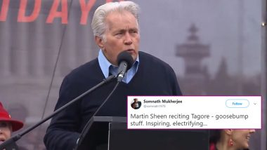 Martin Sheen Recites Rabindranath Tagore's Poem 'Where the Mind Is Without Fear' at Climate Action Protest in Capitol Hill, Indians Beam With Pride (Watch Video)