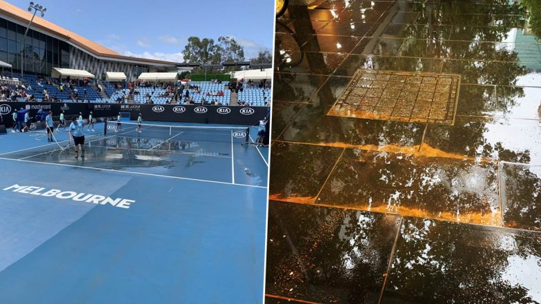 Australian Open 2020: Melbourne Park Hit by 'Dirty Downpour' and 'Brown Rain', Twitter Shocked and Amused In Equal Measures (View Pics)