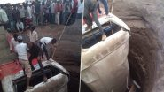 Maharashtra Road Accident: Bus Rams Into Rickshaw in Nashik, Both Fall in Well; 25 Injured