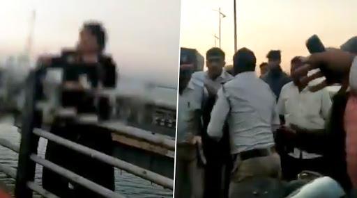 Maharashtra: Navi Mumbai Police Saves Woman Attempting to Commit Suicide at Vashi Bridge, Watch Video