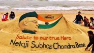 Sudarsan Pattnaik Creates Sand Art of Netaji Subhas Chandra Bose on His 123rd Birth Anniversary at Puri Beach