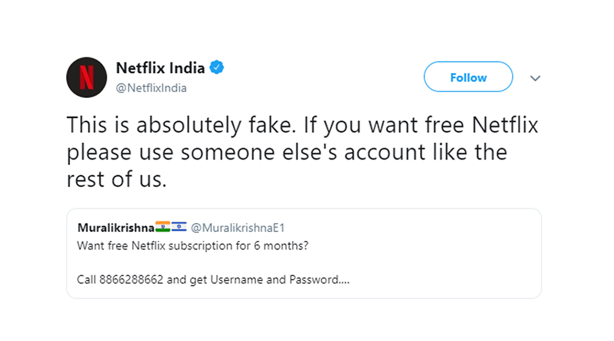 Free Netflix Subscription by Dialing Support CAA Number 88662-88662? Streaming Platform Busts Fake Messages With a Witty Tweet