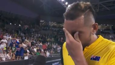 Nick Kyrgios Breaks Down in Tears While Discussing Australian Bushfires After ATP Cup Victory (Watch Video)