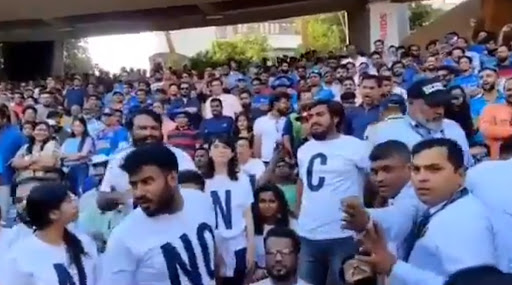 Anti-CAA Stir Reaches Mumbai's Wankhede Stadium, Fans Shunted Out For Wearing 'No NRC, NPR & CAA' T-Shirts During India vs Australia Match; Watch Video
