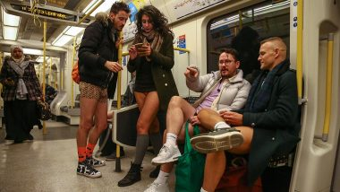 No Trousers Tube Ride 2020: Londoners Strip Down to Undergarments and Take The Underground Ride For Their Quirky Annual Celebration (View Pics)