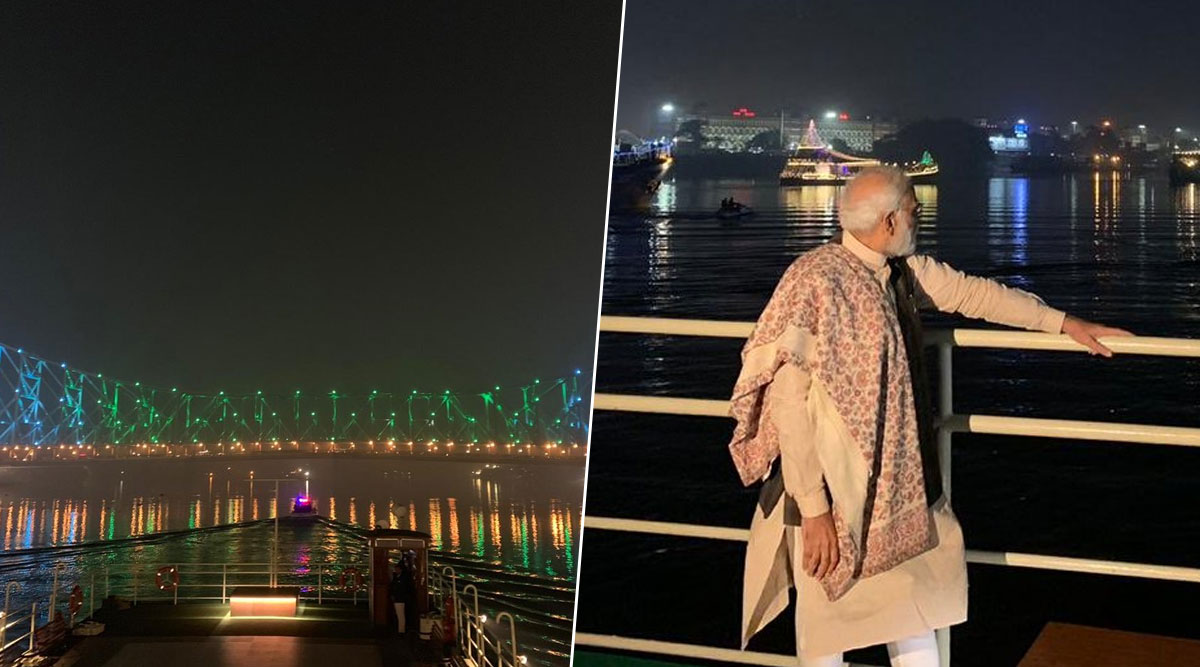PM Narendra Modi Inaugurates Sound and Light Show at Rabindra Setu (Howrah Bridge), Leaves for Belur Math by Boat; Watch Video