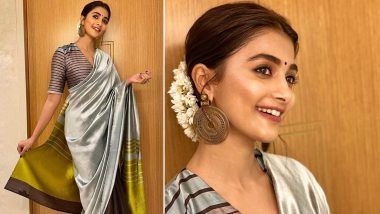 Pooja Hegde Sparks Off a Resplendent Striped Saree Style in Payal Khandwala!