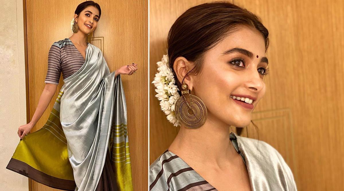 Pooja Hegde Sparks Off a Resplendent Striped Saree Style in Payal Khandwala!