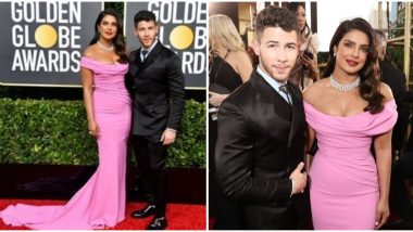 Golden Globes 2020: Priyanka Chopra Rocks The Red Carpet In a Pink Off-Shoulder Gown As She Struts With Nick Jonas (View Pics)