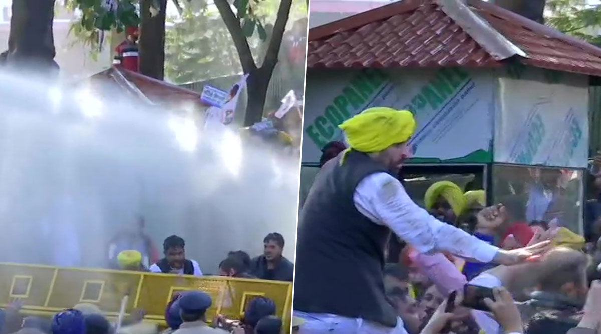 AAP Workers Protest Against Power Tariff Hike Outside Punjab CM Captain Amarinder Singh's Residence, Cops Use Water Cannon