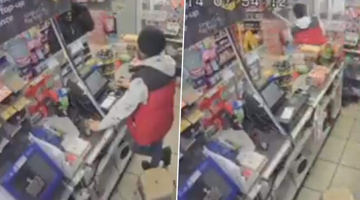 Punjabi Shopkeeper Chases Away Robber With a Baseball Bat While Hurling Abuses, Watch Funny Video