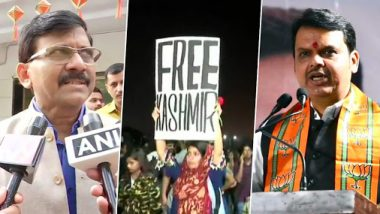 'Free Kashmir' Poster Seen at Gateway of India Protest in Mumbai; Devendra Fadnavis Questions Shiv Sena, Sanjay Raut Defends It