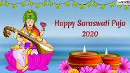 Saraswati Puja Images & HD Wallpapers for Free Download Online: Wish Happy Basant Panchami 2020 With WhatsApp Stickers & Hike GIF Messages