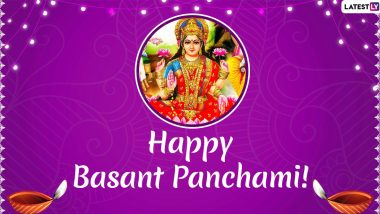 Happy Saraswati Puja 2020 Messages in Hindi: WhatsApp Stickers, SMS, Quotes, Facebook Greetings to Send on Basant Panchami