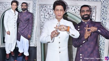 Shah Rukh Khan Looks Dapper In a White Pathani Suit as He Poses With Remo D'Souza On Dance Plus 5 Sets (View Pics)