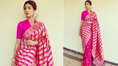 Shilpa Shetty Has a Passionate Affair With Pink, This Time It's a Banarasi Six Yard!