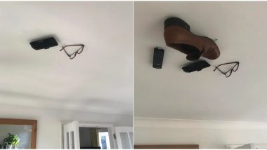 Son Sticks Dad's Belongings on Ceiling to Prank Him, Funny Pics Go Viral