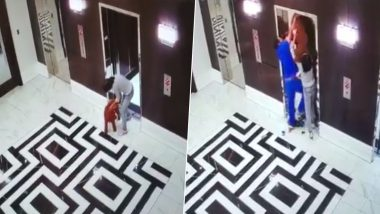 Pet Dog Almost Strangled Between Elevator Doors, Gets Saved in Time by Quick-Thinking Doctor (Watch Viral Video)