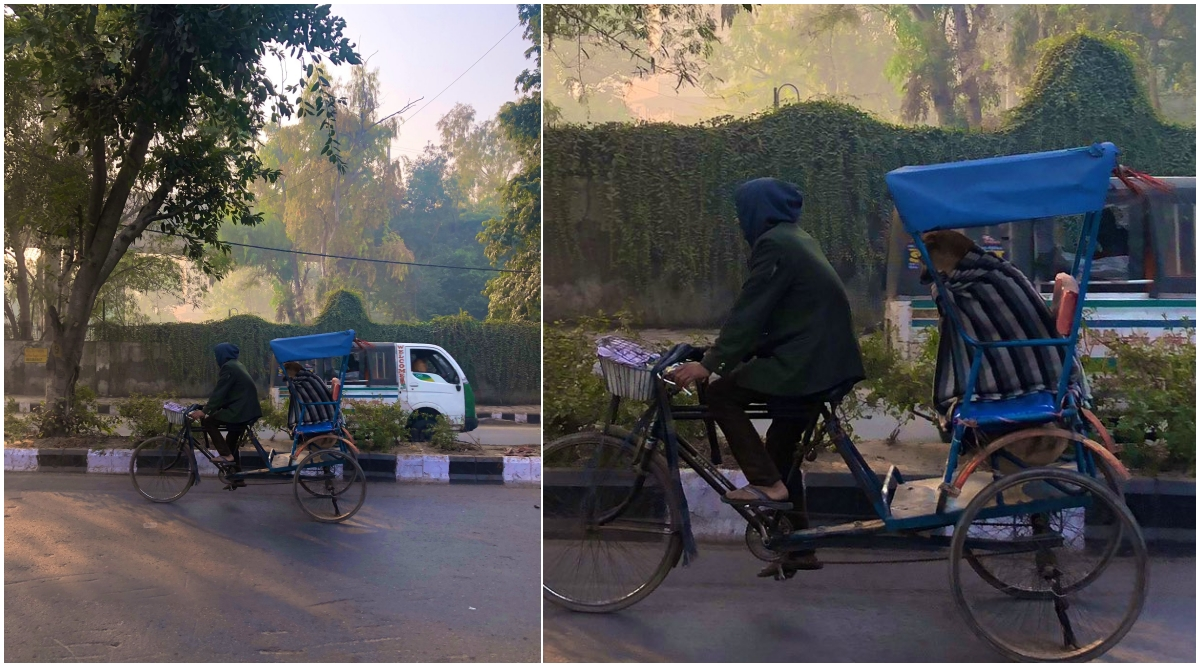 Delhi Rickshaw Puller Wraps a Stray Dog in Blanket and Takes it Around on a Ride, Wins Hearts Online With His Kind Gesture (View Viral Pics)