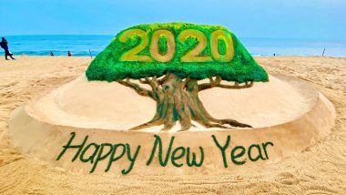 Sand Artist Sudarsan Pattnaik Wishes Happy New Year 2020 With Beautiful Sand Art on Odisha's Puri Beach