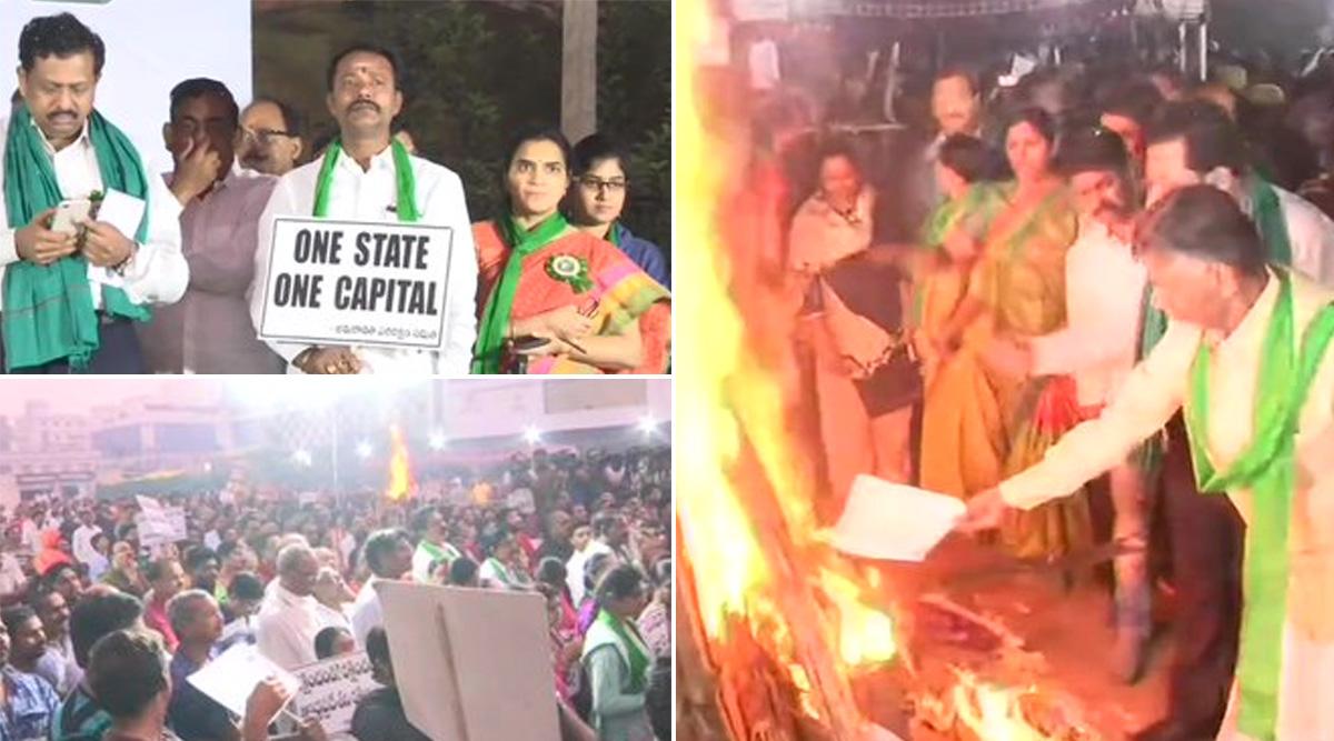 Chandrababu Naidu and TDP Leaders Burn Copies of G Nageswara Rao Committee Report That Proposes Three-Capitals For Andhra Pradesh