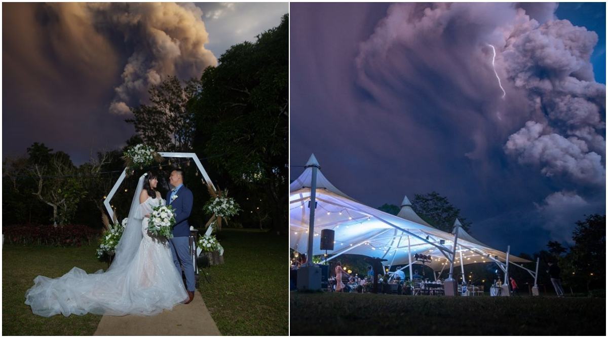Filipino Couple Gets Married With Dramatic Taal Volcano Smoke Cloud in the Background; Surreal Wedding Pics Go Viral