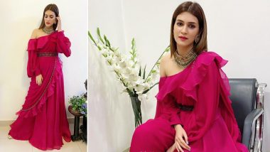 Kriti Sanon Rings in Ethnic Splendour With Fuchsia, Ruffles All Bundled Into a Perfect Jumpsuit!