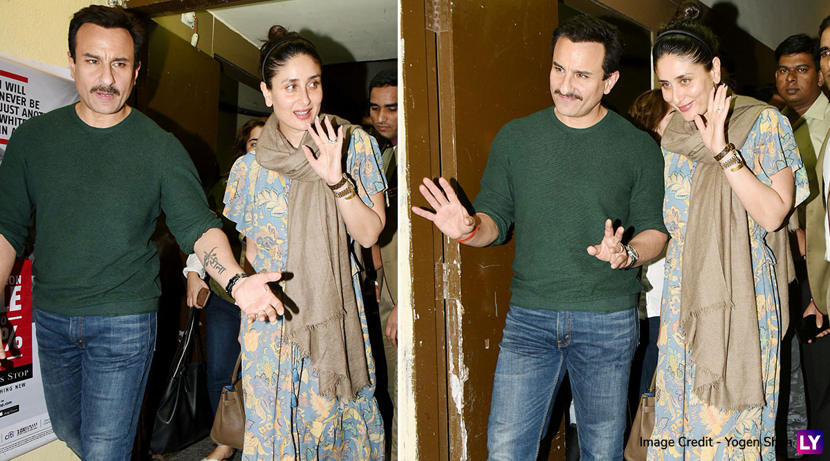 Saif Ali Khan Goes Out for a Movie Date with Wifey Kareena Kapoor Khan, and This Couple Looks Chic as Ever! View Pics