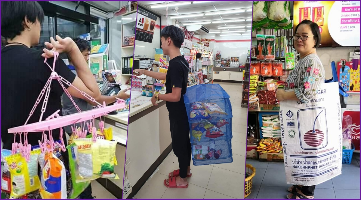 Thailand Residents's Creative Ways of Shopping After Plastic Ban Prove Indians Aren't Only Ones Good With Jugaad (View Viral Pics)
