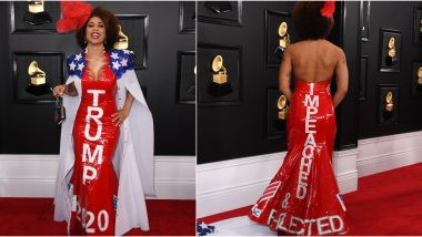 Grammys 2020: Joy Villa Turns Up Wearing a 'Trump 2020 - Impeached and Re-elected' Dress on the Red Carpet and Netizens Don't Know How to React (View Pics)