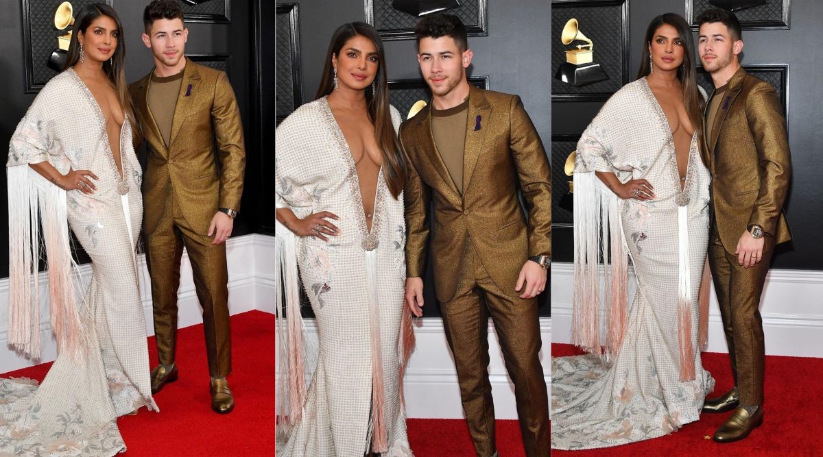 Priyanka Chopra Jonas at Grammys 2020, a Torrid Love Affair With a Plunging Ivory Ralph & Russo Gown and Nick Jonas in Tow (View Pics)
