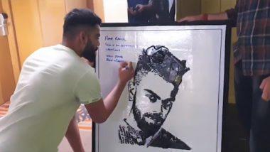 Die-Hard Virat Kohli Fan Creates Unique Portrait Of Indian Captain Using Old Mobile Phones and Wires (Watch Video)