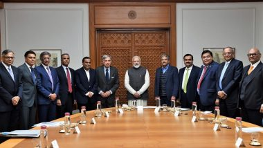 PM Narendra Modi Meets Top Businessmen Including Heads of Tata Group, Reliance Industries, Mahindra & Mahindra Ahead of Budget 2020