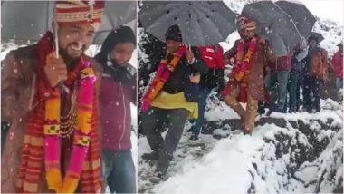 Uttarakhand Groom Walks 4 Km to Reach Bride's Home Amid Heavy Snowfall (View Viral Pics)