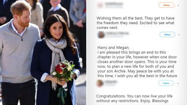 Prince Harry and Meghan Markle Officially Give Up Royal Titles, Social Media Users Shower Their Support (Check Tweets)